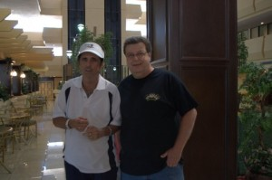 James Downing meets Alice Cooper at their hotel