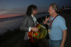 Wayne Coyne of The Flaming Lips chats with Mike backstage at the Beale Street Music Festival