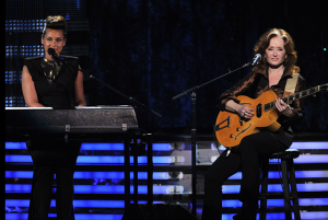 Alicia Keys and Bonnie Raitt performing on the Grammys