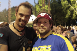 Michael Franti with fan Brian Pearson