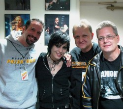 Joan Jett backstage with Tom, Mike, and Brian of Concert Blast - Horseshoe Casino Tunica, MS